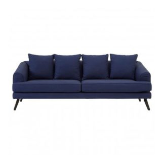 An Image of Myla 3 Seater Fabric Sofa In Navy Blue