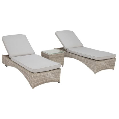 An Image of Hathaway Garden 3 Piece Sun Lounger Set in Light Grey Weave and Grey Fabric