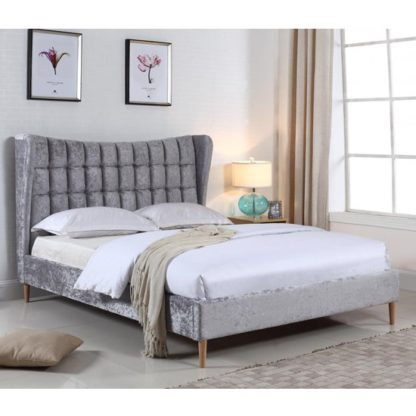 An Image of Mahala Crushed Velvet Double Bed In Silver