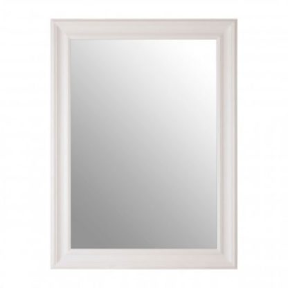 An Image of Zelman Wall Bedroom Mirror In Chic White Frame
