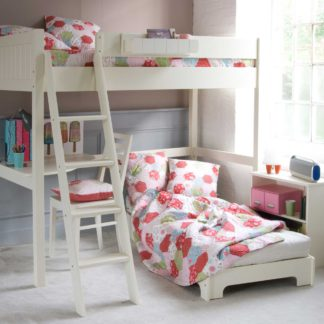 An Image of Pippin Childrens Highsleeper with Corner Desk, Futon And Storage Bookcase
