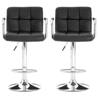 An Image of Stocam Black Faux Leather Gas Lift Bar Stools In Pair