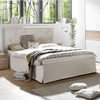 An Image of Civico Faux Leather Double Bed In Clay Effect