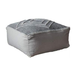 An Image of Soto Fabric Upholstered Square Pouffe In Grey