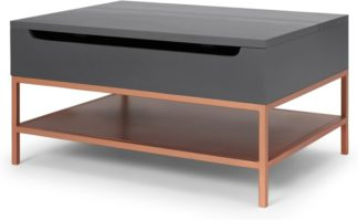 An Image of Lomond Lift Top Coffee Table with Storage, Grey & Copper
