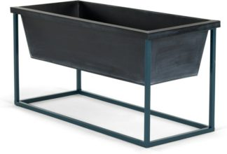An Image of Noor Free Standing Low Galvanized Iron Rectangular Plant Stand, Black & Teal