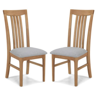 An Image of Wardle Grey Fabric Dining Chairs In A Pair With Wooden Frame