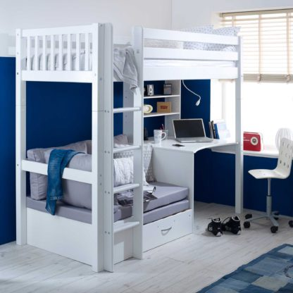 An Image of Ferdie Childrens Highsleeper Bed with Desk and Futon