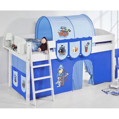 An Image of Lilla Children Bed In White With Pirate Blue Curtains
