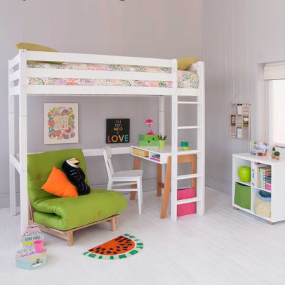 An Image of Buddy Childrens Beech Highsleeper Loft Bed With Desk, Storage Bookcase and Futon Chair Bed