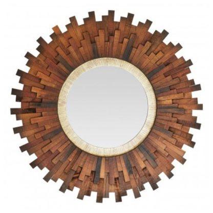 An Image of Exotic Sunburst Design Wall Bedroom Mirror In Natural Dark Frame