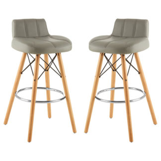 An Image of Porrima Grey Faux Leather Effect Bar Stools In Pair