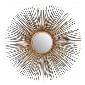 An Image of Templars Round Wall Bedroom Mirror In Bronze and Gold Frame