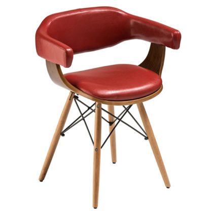 An Image of Tenova Red Faux Leather Bedroom Chair With Beech Wooden Legs