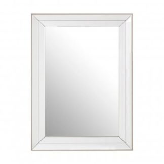 An Image of Susann Rectangular Wall Bedroom Mirror In Clear Frame
