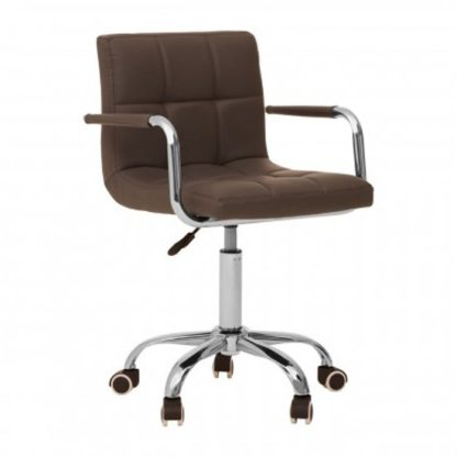 An Image of Becoa Home And Office Leather Chair In Grey With Swivel Base