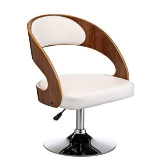 An Image of Savial White Faux Leather Bar Chair With Arms