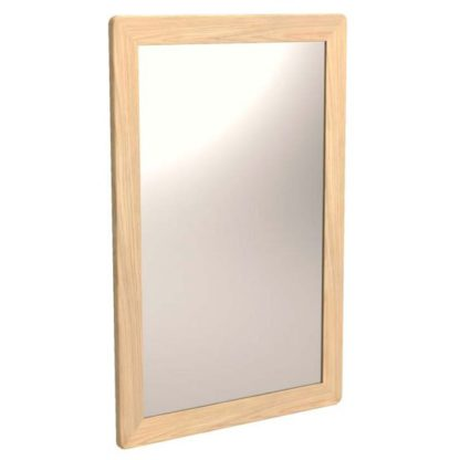 An Image of Carnial Wall Bedroom Mirror In Blond Solid Oak Frame