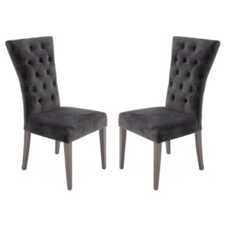 An Image of Pembroke Charcoal Velvet Upholstered Dining Chairs In Pair