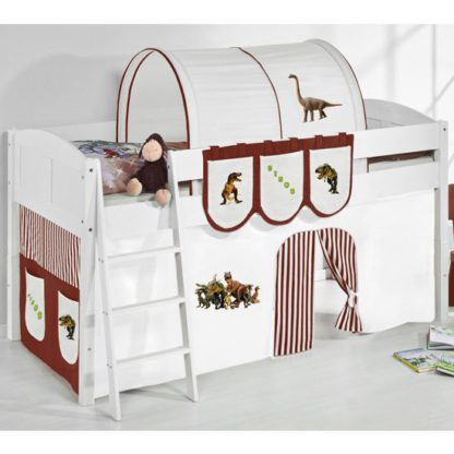 An Image of Hilla Children Bed In White With Dinosaur Brown Curtains