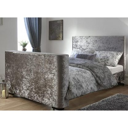 An Image of Newark Crushed Velvet Double Electric TV Bed In Silver