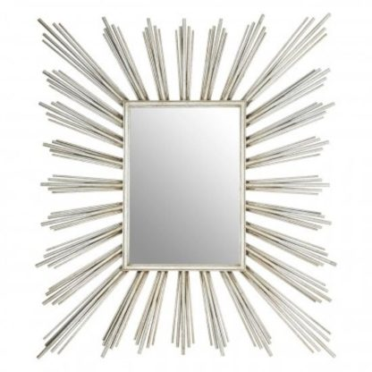 An Image of Zaria Sunburst Design Wall Bedroom Mirror In Silver Frame
