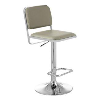 An Image of Porrima Light Grey Leather Seat And Chrome Base Bar Stool