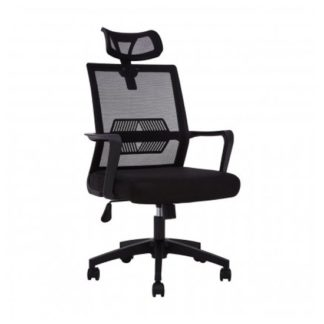 An Image of Wivon Rolling Home And Office Fabric Chair In Black