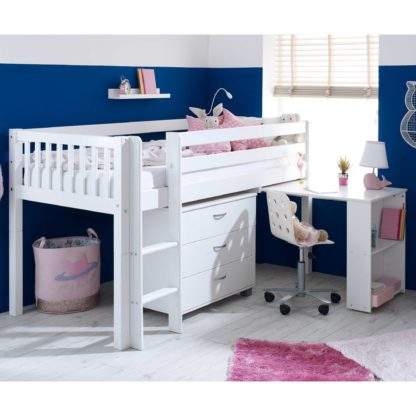 An Image of Ferdie Childrens Midsleeper Bed with pull out Desk and Chest