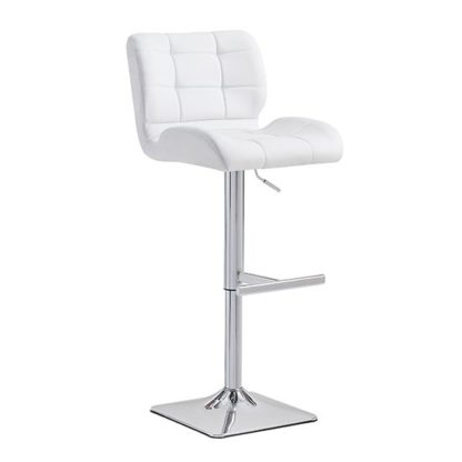 An Image of Candid Bar Stool In White Faux Leather With Chrome Plated Base