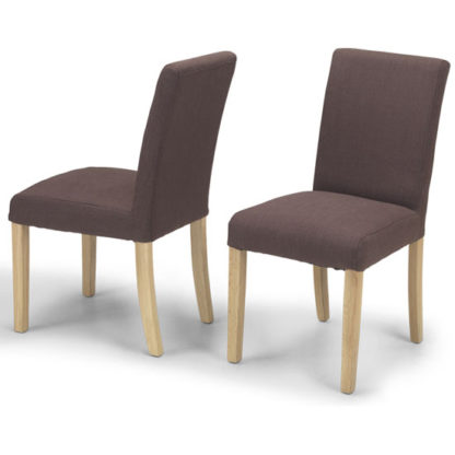 An Image of Exotic Brown Fabric Dining Chairs In A Pair With Natural Legs