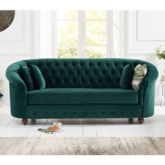 An Image of Casiop Chesterfield Plush Fabric 3 Seater Sofa In Green