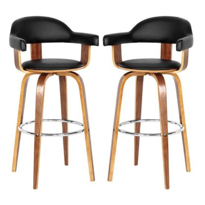 An Image of Savial Black Leather Rotating Bar Chairs With Armrest In Pair