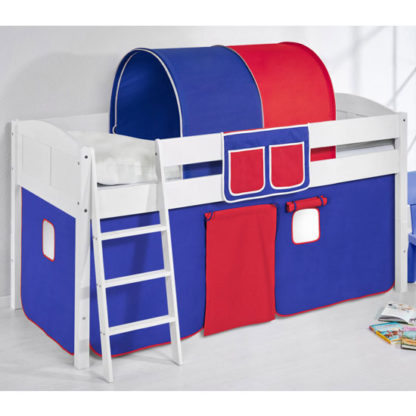 An Image of Hilla Children Bed In White With Blue Red Curtains