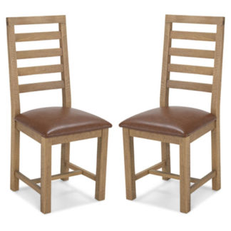 An Image of Albas Brown Leather Dining Chairs In A Pair With Wooden Frame
