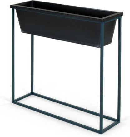 An Image of Noor Free Standing High Galvanized Iron Rectangular Plant Stand, Black & Teal