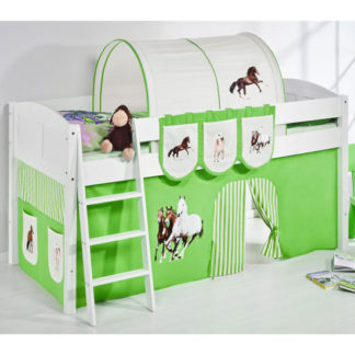 An Image of Hilla Children Bed In White With Horses Green Curtains