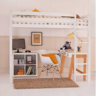 An Image of Buddy Childrens Beech Highsleeper Loft Bed With Desk and Storage Bookcase