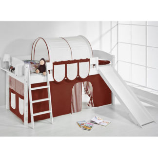 An Image of Lilla Slide Children Bed In White With Brown Curtains