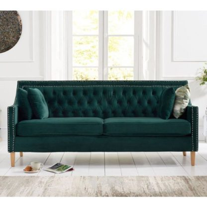 An Image of Casobellio Plush Fabric Upholstered 3 Seater Sofa In Green