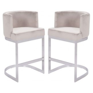 An Image of Lauro Beige Velvet Bar Chairs In Pair With Silver Legs
