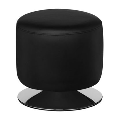 An Image of Ceko Faux Leather Cylinder Stool In Black