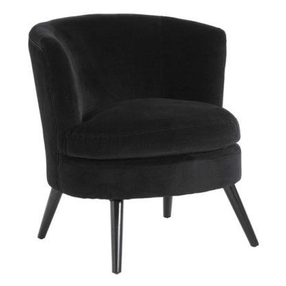 An Image of Vekota Round Plush Velvet Upholstered Armchair In Black