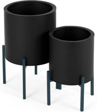 An Image of Noor Set Of Two Galvanized Iron Round Plant Stands, Black & Teal