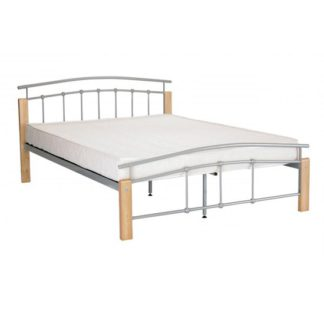 An Image of Tetras Metal Single Bed In Silver With Beech Posts
