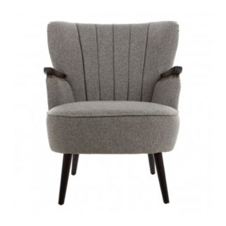 An Image of Hampro Fabric Upholstered Armchair In Grey
