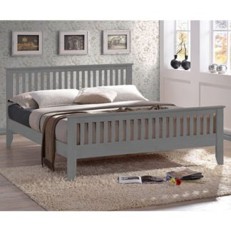 An Image of Turin Wooden King Size Bed In Grey