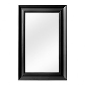 An Image of Urbana Wall Bedroom Mirror In Cool Matte Black Frame