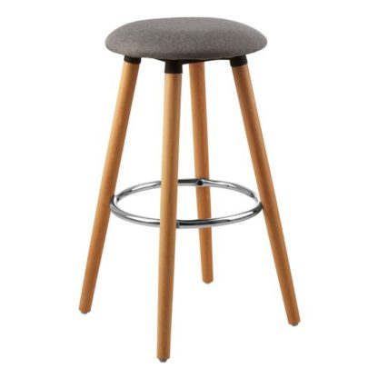 An Image of Porrima Fabric Round Seat Bar Stool In Grey