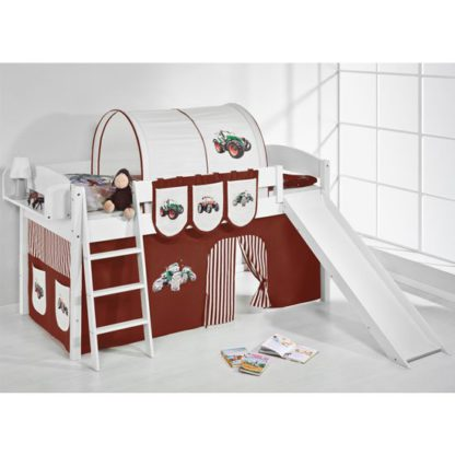 An Image of Lilla Slide Children Bed In White With Tractor Brown Curtains